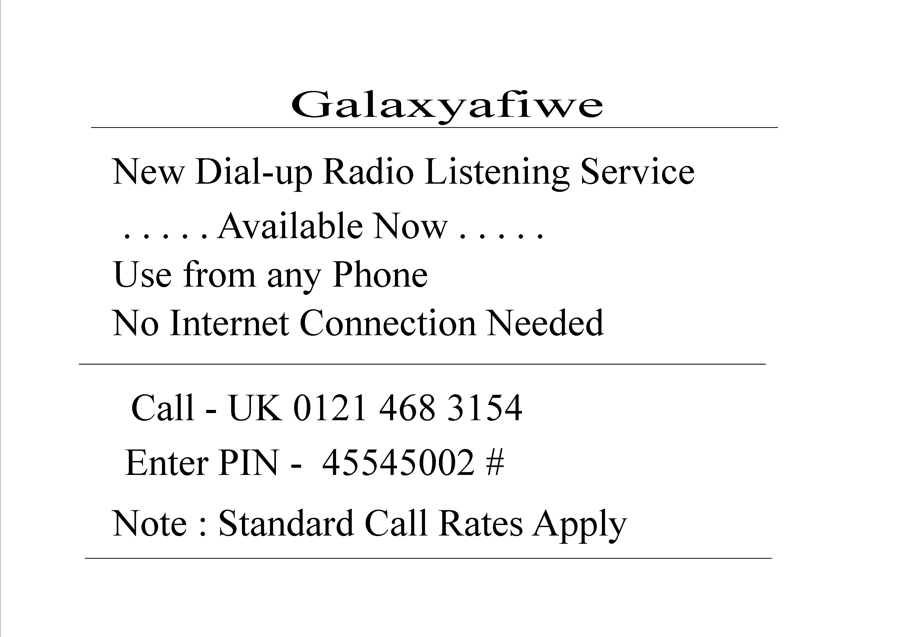 Dial up Service #1c